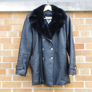 Marvin Richards Leather Double Breasted Trench Fur